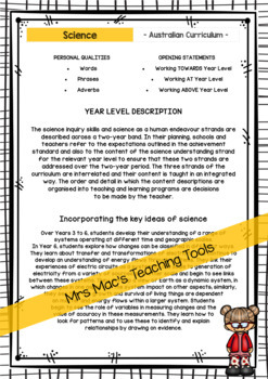 SCIENCE - Report Writing Comments - Year 6 - Australian Curriculum