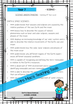 SCIENCE - Report Writing Comments - Year 7 - Australian Curriculum