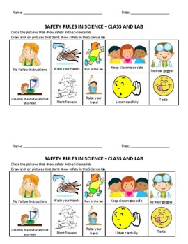 SCIENCE SAFETY RULES - ANCHOR CHART ACTIVITY & TEST