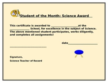 SCIENCE STUDENT OF THE MONTH CERTIFICATE