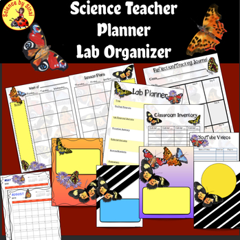 SCIENCE TEACHER LESSON PLANNER/Room Inventory Lab Organizer-BUTTERFLY THEME