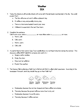 SCIENCE TEKS 4.8A Weather SCA (Short Cycle Assessment)