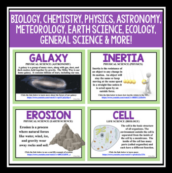 SCIENCE BELL RINGERS & CLASS POSTERS: SCIENCE TERM OF THE WEEK