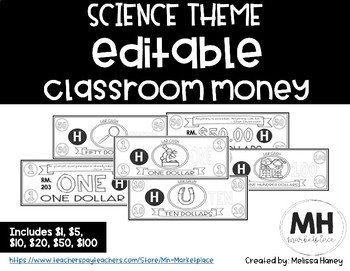 SCIENCE THEME - Classroom Money - EDITABLE