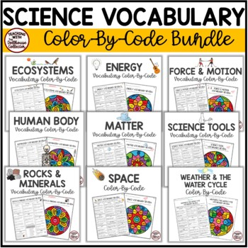 SCIENCE VOCABULARY COLOR-BY-CODE REVIEWS for Upper Elementary - Growing Bundle!