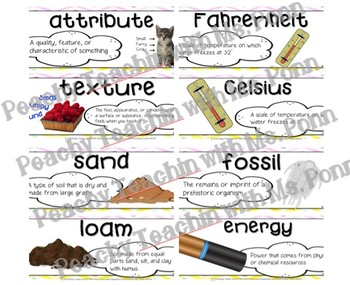 SCIENCE WORD WALL | Third Grade Vocab Words - FULL YEAR | Editable | Watercolor
