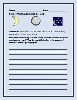 SCIENCE WRITING PROMPT: ASTRONOMY: THE MOON: GRADES 5-12