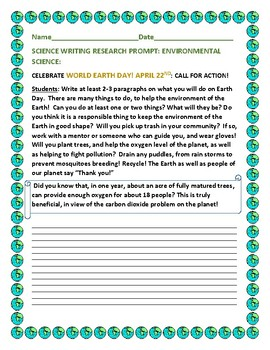 SCIENCE WRITING PROMPT:  CELEBRATE EARTH DAY-APRIL 22ND
