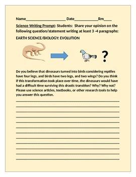 SCIENCE WRITING PROMPT: DINOSUARS TO BIRDS GRADES 9-12, AP BIOLOGY