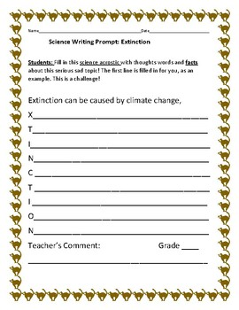 SCIENCE WRITING PROMPT: EXTINCTION ACROSTIC: CROSS-CURRICULAR