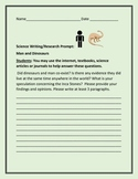 SCIENCE WRITING PROMPT: MAN AND DINOSAURS GRADES 5-9