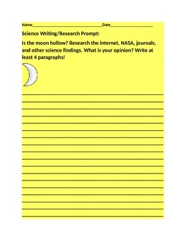 SCIENCE WRITING PROMPT: THE MOON/ GRADES 8-12