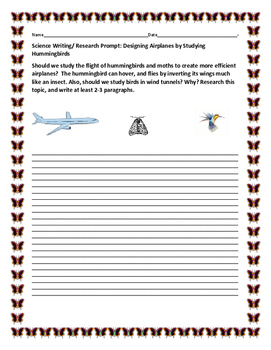 SCIENCE WRITING/ RESEARCH PROMPT: AVIATION & HUMMINGBIRD, AP BIOLOGY, MG