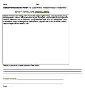 SCIENCE WRITING/ RESEARCH PROJECT/CONTEST: URBAN FARMING