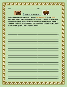 SCIENCE WRITING RESEARCH PROJECT: THE WILDEBEEST & THE BISON