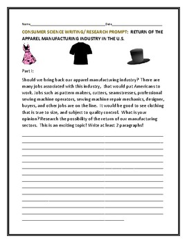 CONSUMER SCIENCE WRITING/ RESEARCH PROMPT: THE  APPAREL INDUSTRY
