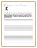 SCIENCE WRITING/ RESEARCH PROMPT: ARTHROPODS & PARENTING SKILLS