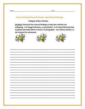 SCIENCE WRITING/ RESEARCH PROMPT: BEE COLONIES