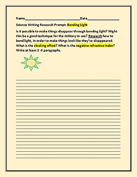 SCIENCE WRITING RESEARCH PROMPT: BENDING LIGHT