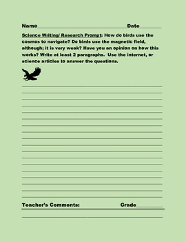 SCIENCE WRITING/ RESEARCH PROMPT: BIRD NAVIGATION, GRADES