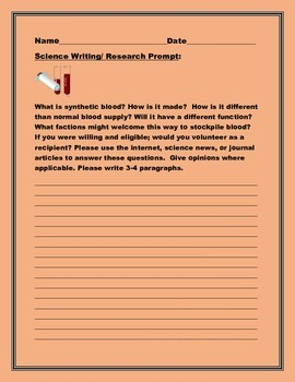 SCIENCE WRITING/ RESEARCH PROMPT:BLOOD:  GRADES 7-12, AP BIOLOGY