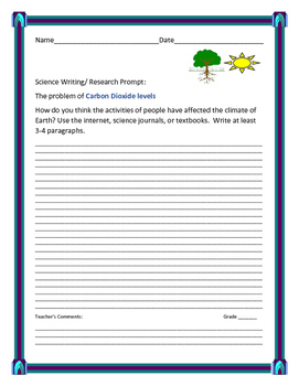 SCIENCE WRITING/ RESEARCH PROMPT: CARBON DIOXIDE LEVELS