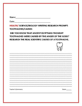 SCIENCE WRITING RESEARCH PROMPT: CAUSES OF TOOTHACHES