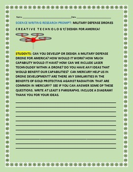 SCIENCE WRITING RESEARCH PROMPT:DRONE DESIGN