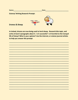 SCIENCE WRITING RESEARCH PROMPT: DRONES & SHEEP