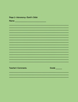 SCIENCE WRITING/ RESEARCH PROMPT: EARTH'S ORBIT