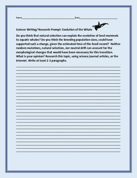 SCIENCE WRITING/ RESEARCH PROMPT: ORIGIN OF THE WHALE- AP BIOLOGY, BIOLOGY