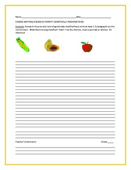 SCIENCE/ WRITING RESEARCH PROMPT: GENETICALLY MODIFIED FOOD