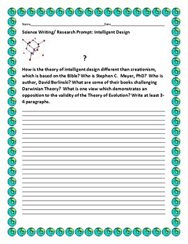 SCIENCE WRITING/ RESEARCH PROMPT: INTELLIGENT DESIGN