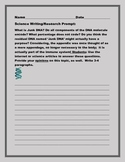 SCIENCE WRITING/RESEARCH PROMPT: JUNK DNA, GRADES 9-12, AP BIOLOGY