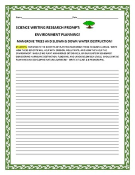 SCIENCE WRITING RESEARCH PROMPT: MANGROVE TREES & EROSION