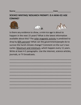 SCIENCE WRITING/RESEARCH PROMPT: MINI ICE AGE
