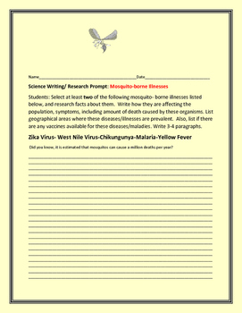 SCIENCE WRITING/ RESEARCH PROMPT: MOSQUITO-BORNE ILLNESSSES
