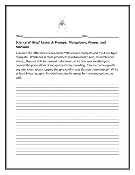 SCIENCE WRITING/ RESEARCH PROMPT: MOSQUITOES, VIRUSES, AND MANKIND