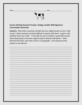 SCIENCE WRITING RESEARCH PROMPT:  SOURCES OF MILK & MAMMALS