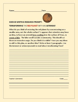 SCIENCE WRITING RESEARCH PROMPT: TERRAFORMING MARS