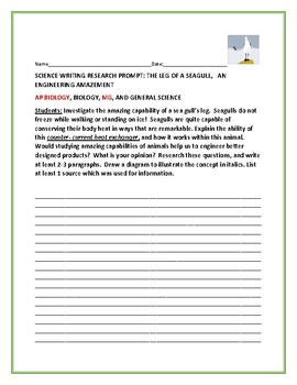 SCIENCE WRITING RESEARCH PROMPT: THE AMAZING SEAGULL: AP BIOLOGY, MG, SCIENCE