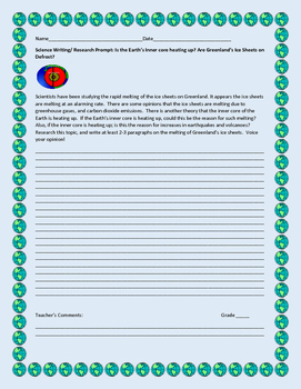 SCIENCE WRITING/ RESEARCH PROMPT: THE EARTH'S INNER CORE