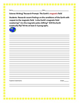 SCIENCE WRITING/RESEARCH PROMPT: THE EARTH'S MAGNETIC FIELD