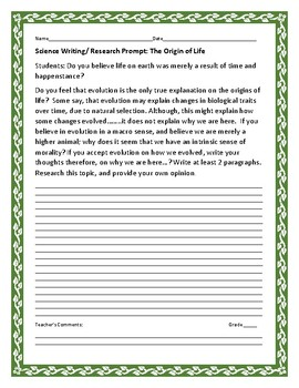 SCIENCE WRITING/ RESEARCH PROMPT: THE ORIGINS OF LIFE