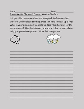 SCIENCE WRITING/ RESEARCH PROMPT: WEATHER WARFARE