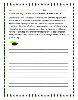 SCIENCE WRITING/ RESEARCH PROJECT: BOTANY & SALT TOXICITY