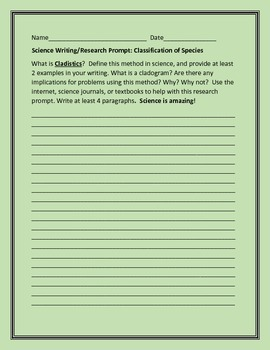 SCIENCE WRITING/RESEARCH PROMPT: CLADISTICS GRADES 9-12, AP BIOLOGY