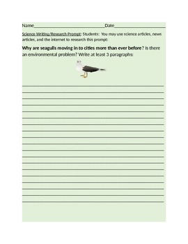 SCIENCE WRITING/RESEARCH PROMPT-SEAGULLS: GRADES 6-12