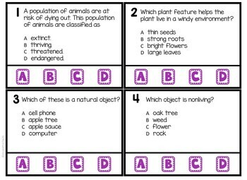 3rd Grade Science Review Task Cards