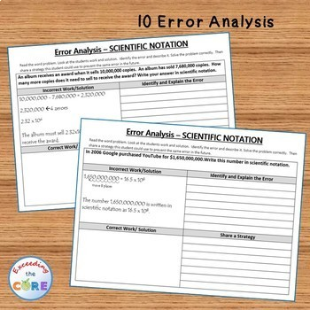 SCIENTIFIC NOTATION - Error Analysis, Graphic Organizers, Puzzles, Coloring Page